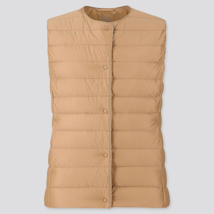 WOMEN ULTRA LIGHT DOWN COMPACT VEST, BEIGE, large