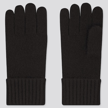Cashmere Knitted Gloves, Black, Medium