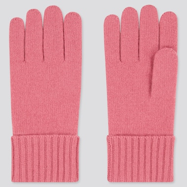 Cashmere Knitted Gloves, Pink, Medium