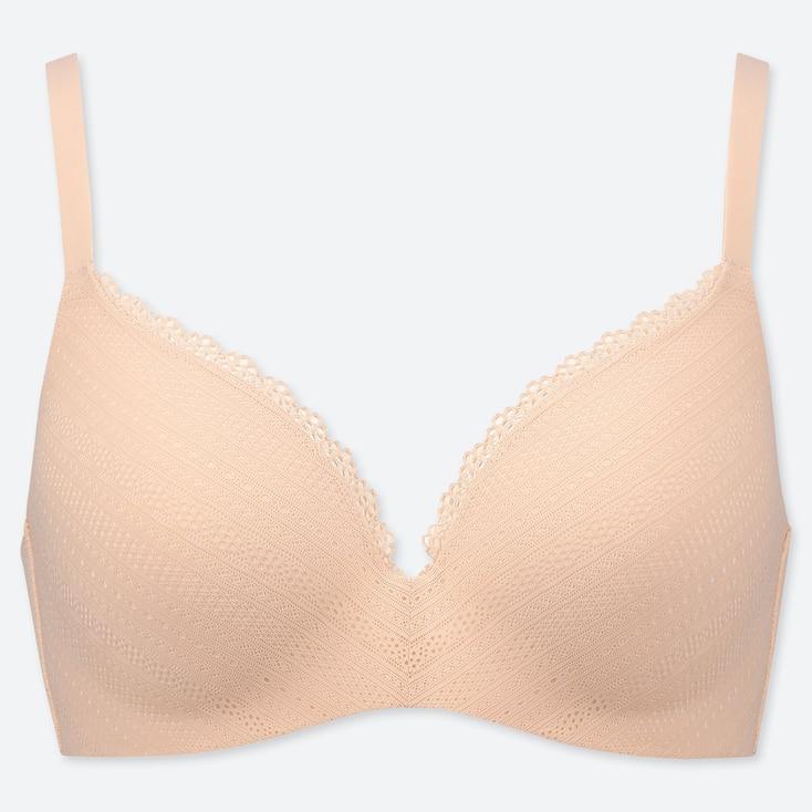 WOMEN BEAUTY LIGHT WIRELESS BRA (LACE), PINK, large