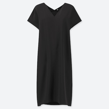 WOMEN DRAPE V-NECK SHORT-SLEEVE DRESS, BLACK, medium