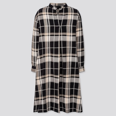 WOMEN FLANNEL A-LINE LONG-SLEEVE DRESS, BLACK, medium