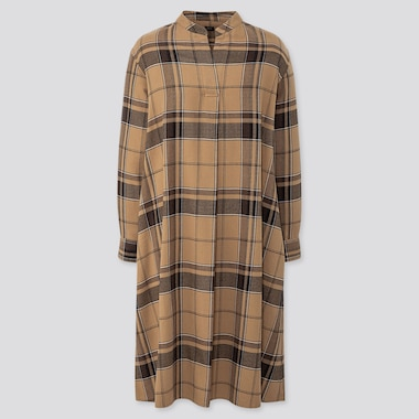 WOMEN FLANNEL A-LINE LONG-SLEEVE DRESS, BEIGE, medium
