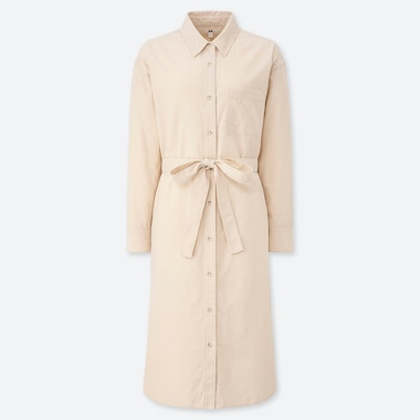 WOMEN CORDUROY LONG-SLEEVE SHIRT DRESS, OFF WHITE, medium