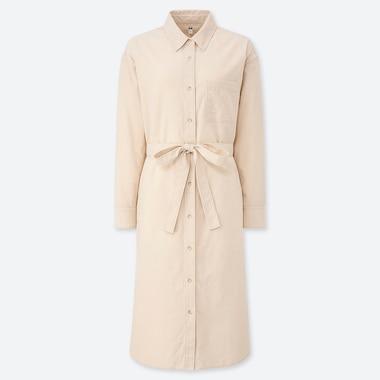 Women Corduroy Long-Sleeve Shirt Dress, Off White, Medium