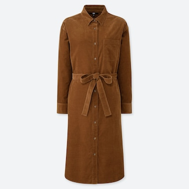 WOMEN CORDUROY LONG-SLEEVE SHIRT DRESS, BROWN, medium