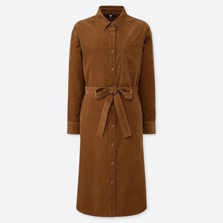 WOMEN CORDUROY LONG-SLEEVE SHIRT DRESS, BROWN, large