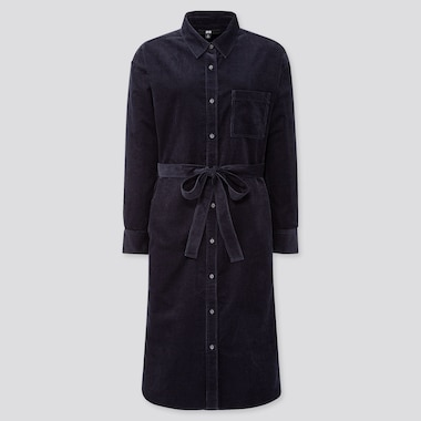 WOMEN CORDUROY LONG-SLEEVE SHIRT DRESS, NAVY, medium