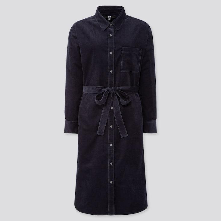 WOMEN CORDUROY LONG-SLEEVE SHIRT DRESS, NAVY, large