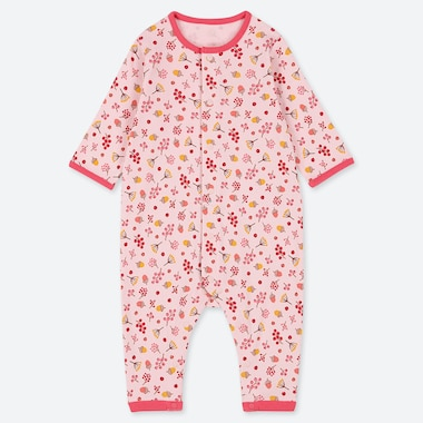 BABIES NEWBORN FLOWER PRINT LONG SLEEVED ONE PIECE OUTFIT