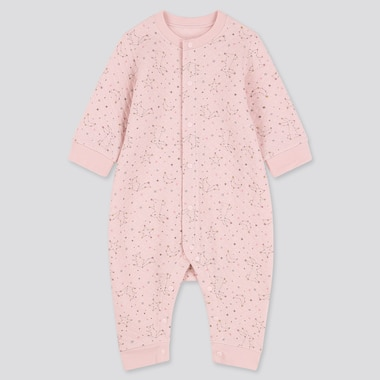 BABIES NEWBORN QUILTED STAR PRINT LONG SLEEVED ONE PIECE OUTFIT