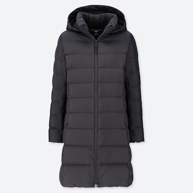 WOMEN ULTRA LIGHT DOWN HOODED COAT, BLACK, medium