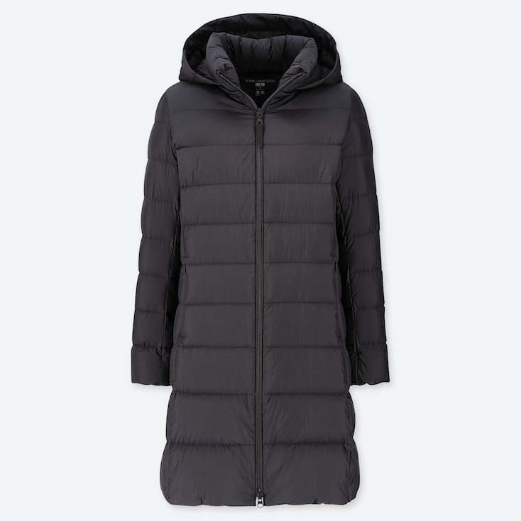 Women Ultra Light Down Hooded Coat, Black, Large