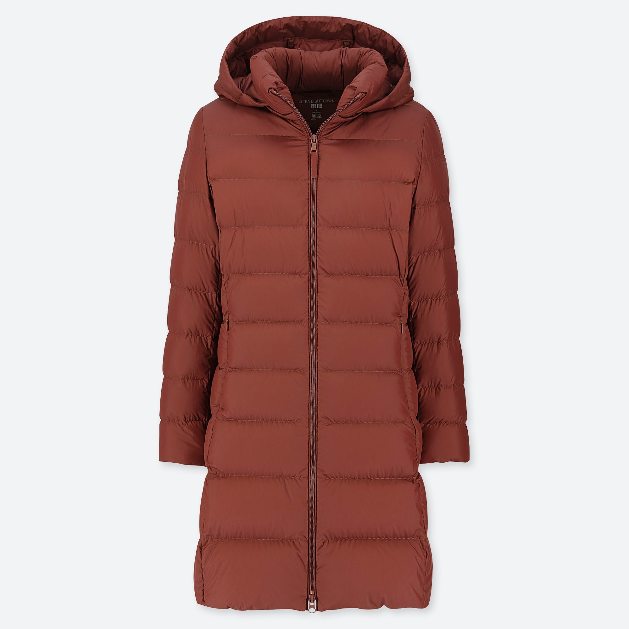 WOMEN ULTRA LIGHT DOWN HOODED COAT : Color - 37 Brown, Size - L (419852)