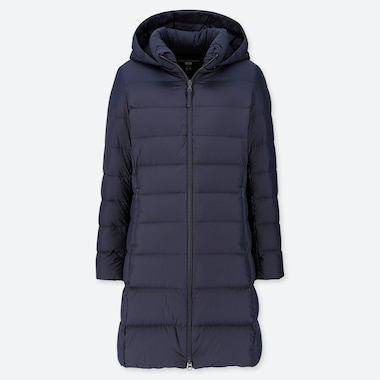 Women Ultra Light Down Hooded Coat, Navy, Medium