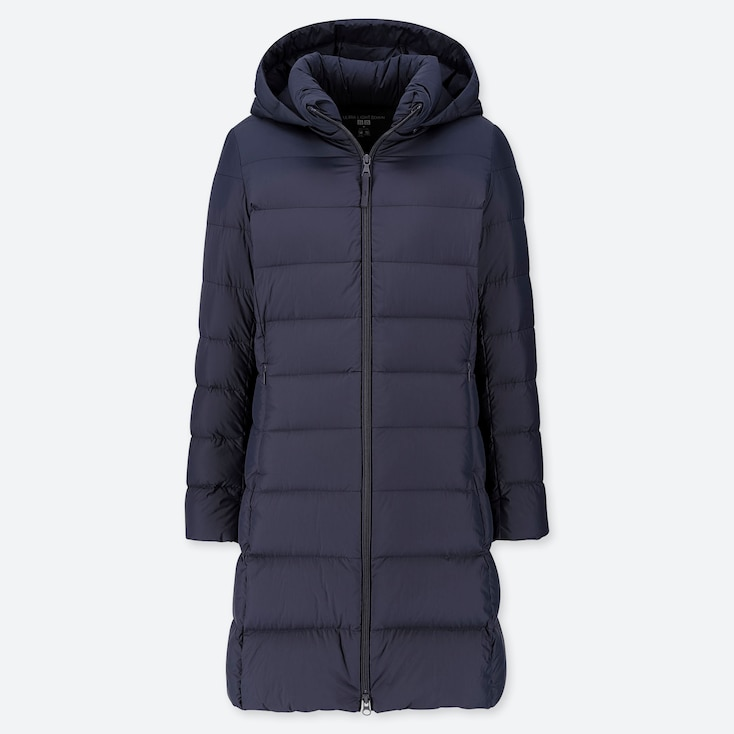 WOMEN ULTRA LIGHT DOWN HOODED COAT, NAVY, large