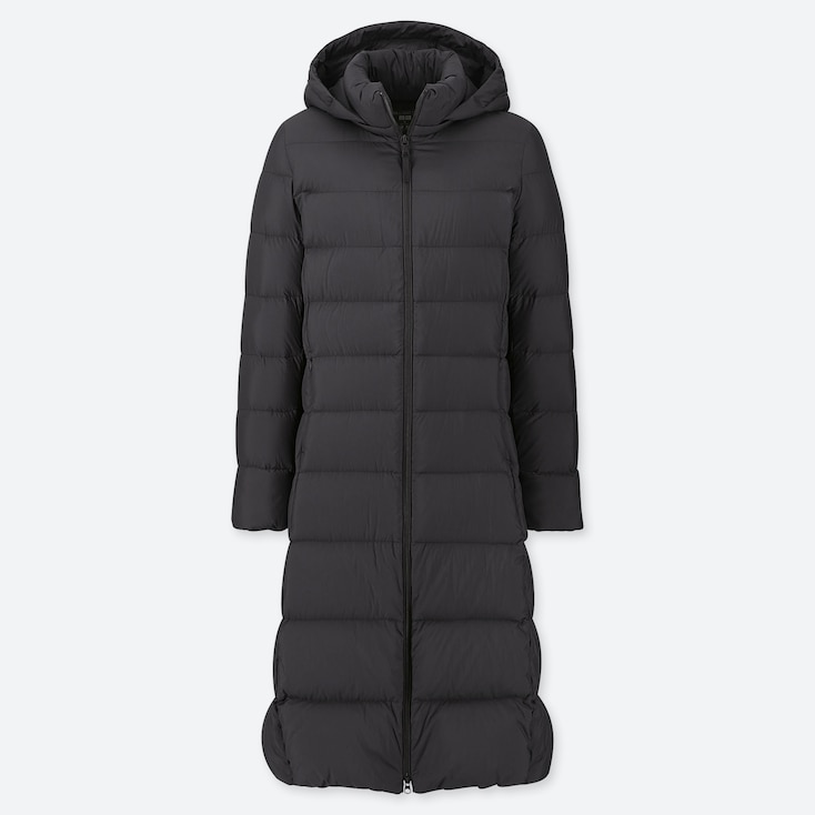 WOMEN ULTRA LIGHT DOWN LONG COAT, BLACK, large