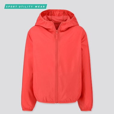 Kids Pocketable Parka, Red, Medium