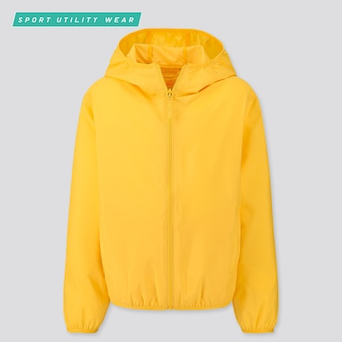 Kids Pocketable Parka, Yellow, Medium
