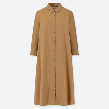 WOMEN EXTRA FINE COTTON A-LINE 3/4 SLEEVED DRESS