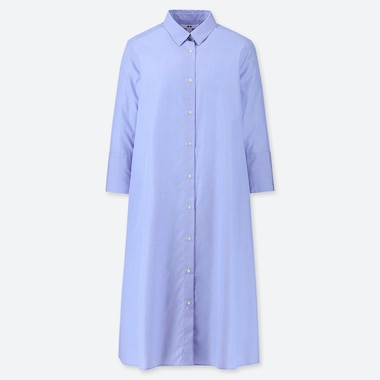 WOMEN EXTRA FINE COTTON A-LINE 3/4 SLEEVE DRESS, LIGHT BLUE, medium