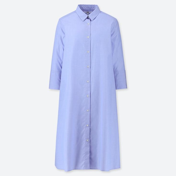 WOMEN EXTRA FINE COTTON A-LINE 3/4 SLEEVE DRESS, LIGHT BLUE, large