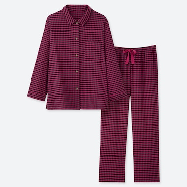 WOMEN FLANNEL STRETCH GINGHAM CHECKED PYJAMAS