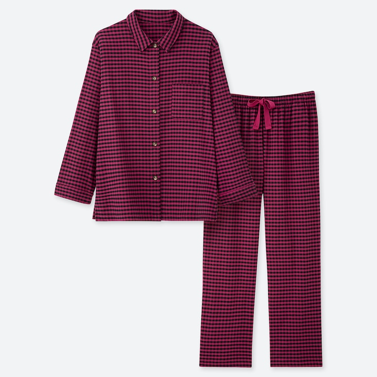 WOMEN STRETCH FLANNEL LONG-SLEEVE PAJAMAS, PINK, large