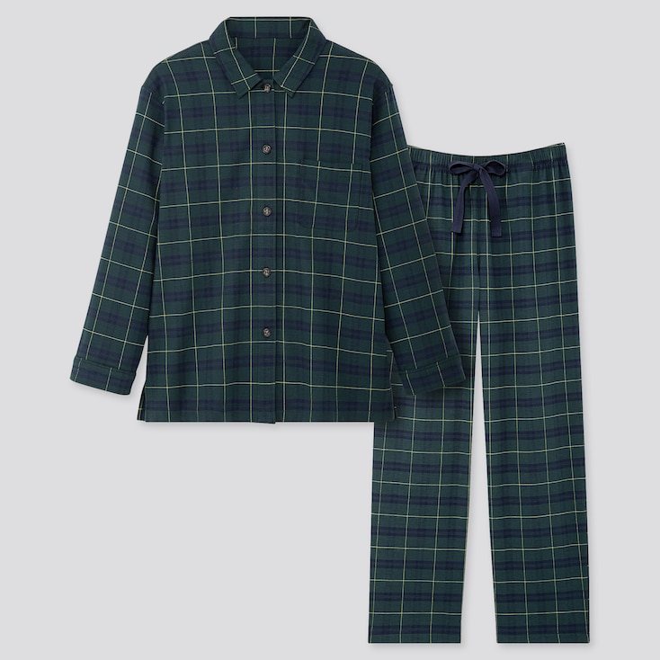 WOMEN STRETCH FLANNEL LONG-SLEEVE PAJAMAS, DARK GREEN, large