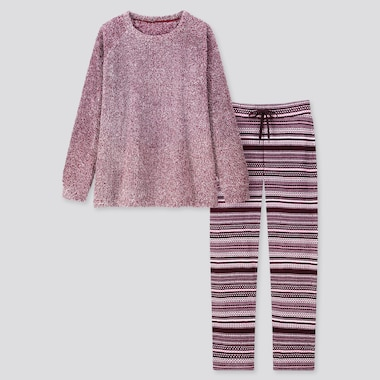 WOMEN FLEECE LONG-SLEEVE SET, WINE, medium