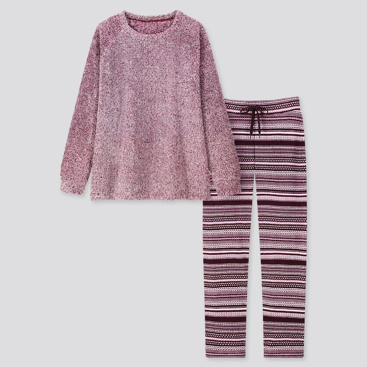Women Fleece Long-sleeve Set, Wine, Large
