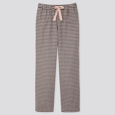 WOMEN STRETCH FLANNEL GINGHAM CHECKED TROUSERS