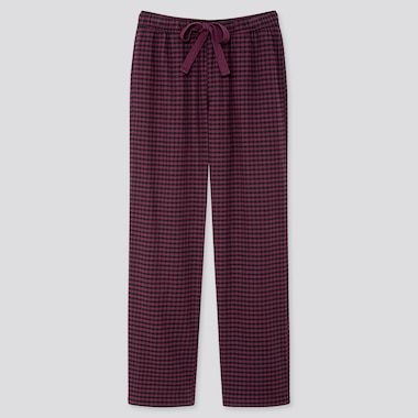 WOMEN STRETCH FLANNEL PANTS, WINE, medium