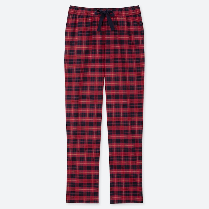 WOMEN STRETCH FLANNEL PANTS, RED, large