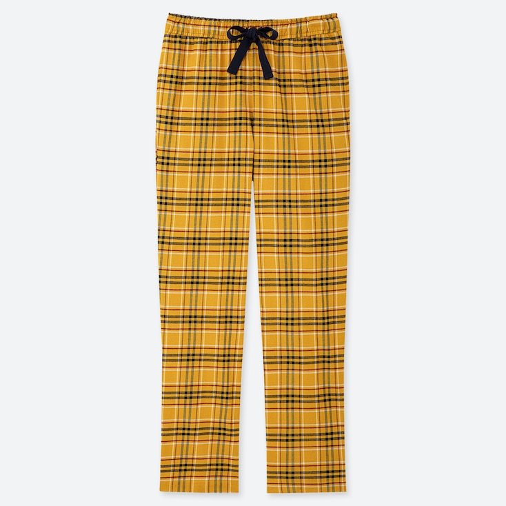 WOMEN STRETCH FLANNEL PANTS, YELLOW, large