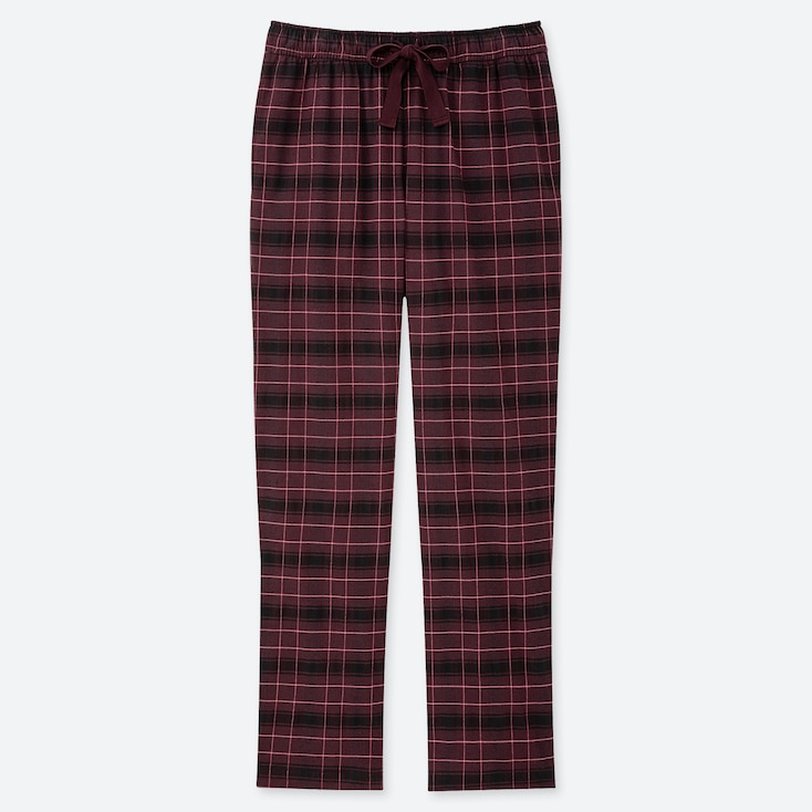 WOMEN STRETCH FLANNEL PANTS, WINE, large