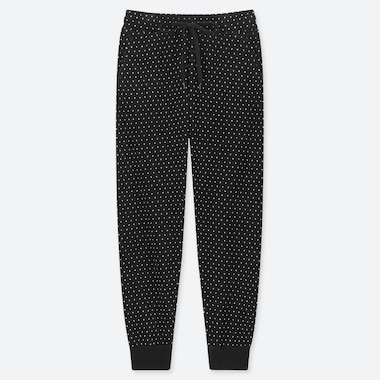 WOMEN FLEECE PANTS (DOTS), BLACK, medium