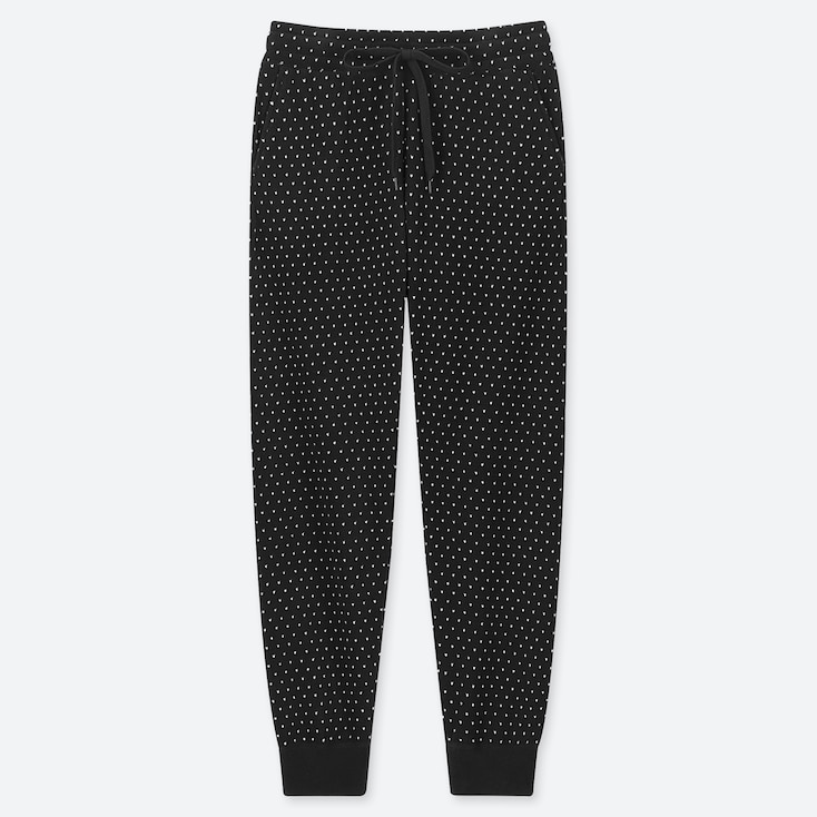WOMEN FLEECE PANTS (DOTS), BLACK, large