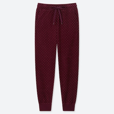 WOMEN FLEECE PANTS (DOTS), WINE, medium