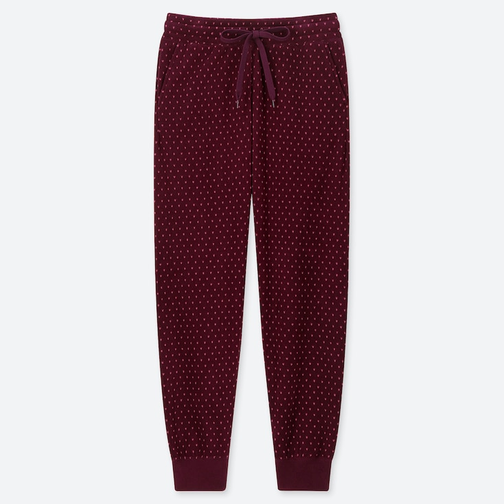 Women Fleece Pants (dots), Wine, Large