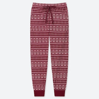 WOMEN FLEECE PANTS (NORDIC), WINE, medium
