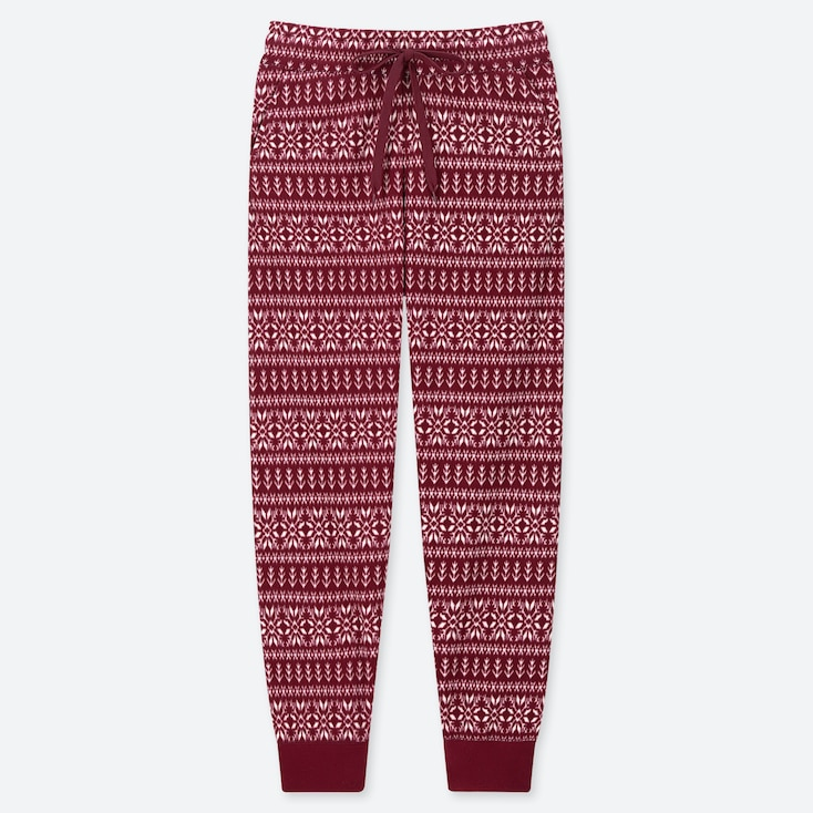 WOMEN FLEECE PANTS (NORDIC), WINE, large