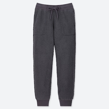 WOMEN PILE-LINED FLEECE PANTS, DARK GRAY, medium