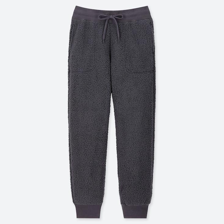 WOMEN PILE-LINED FLEECE PANTS, DARK GRAY, large