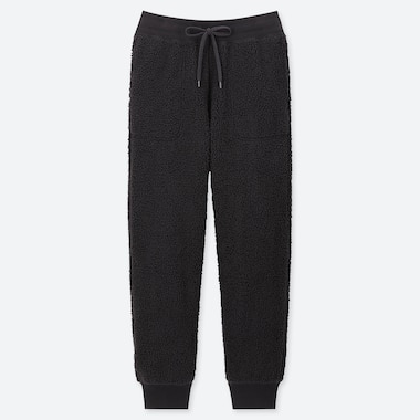 WOMEN PILE-LINED FLEECE PANTS, BLACK, medium