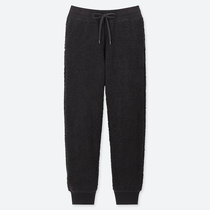 WOMEN PILE-LINED FLEECE PANTS, BLACK, large