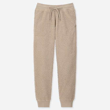 WOMEN PILE-LINED FLEECE PANTS, NATURAL, medium