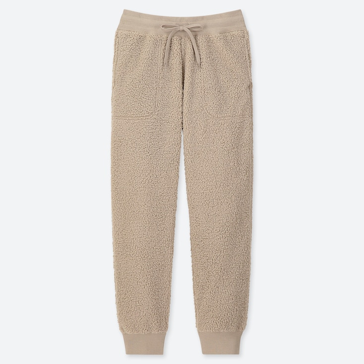 WOMEN PILE-LINED FLEECE PANTS, NATURAL, large