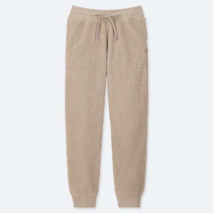 Women Pile-lined Fleece Pants, Natural, Large