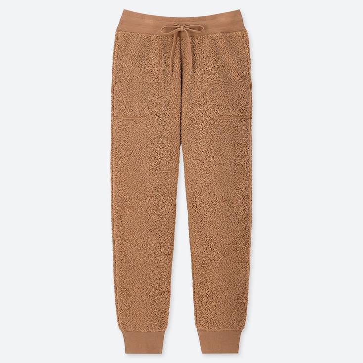 WOMEN PILE-LINED FLEECE PANTS, BEIGE, large